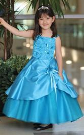 Tulle Satin Sash Layered Ankle-Length Flower Girl Dress