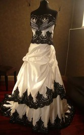 Straps A-Line Sleeveless Taffeta Lace Floor-length Chapel Train Wedding Dress with Corset Back