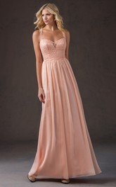 Strapped Chiffon Bridesmaid Dress With Lace top