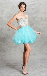 A-Line Backless Ruffled Jeweled Mini Sweetheart Sleeveless Strapless Tulle Dress