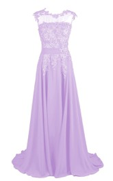 Jeweled Lace Appliqued A-Line Illusion-Neck Gown