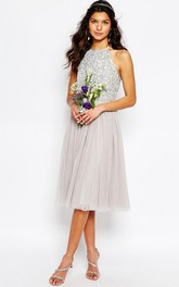 A-Line Tea-Length Scoop-Neck Sleeveless Sequined Tulle Bridesmaid Dress With Pleats