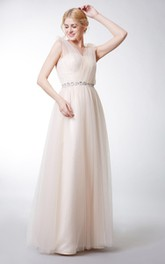 V-neck Sleeveless Tulle Floor-length Dress With Flower And Jeweled Waist