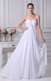 Ruched Rhinestoned Zipper Back One-Shoulder Strap Gown