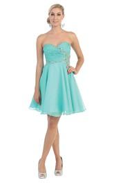 A-Line Mini Sweetheart Sleeveless Chiffon Zipper Dress With Criss Cross And Beading