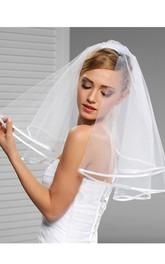 Short Satin Trim Wedding Veil with Hair Comb