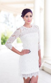 Jewel-Neck 3-4-sleeve Pencil short Wedding Dress With Illusion