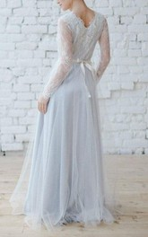 Plunged Lace Long Sleeve Tulle Floor-length Dress With bow And Low-V Back