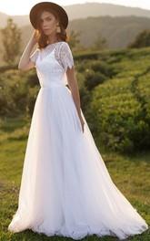 Jewel Lace Tulle Short Sleeve Brush Train Open Back Button Wedding Dress