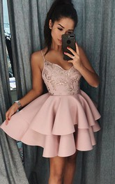 Sleeveless A-line Short Mini Spaghetti Beading Lace Ruffles Tiers Satin Lace Homecoming Dress
