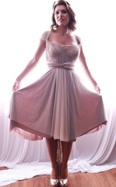 Cap-sleeve Pleated Knee-length Dress With Lace And bow