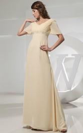 High-Waist Rhinestone Strapless V-Neckline Chiffon Gown
