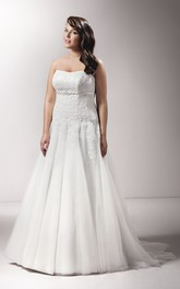 Strapless A-line Tulle Satin plus size wedding dress With Appliques