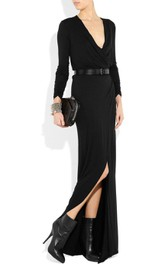 Plunged Long Sleeve Front-split Chiffon Floor-length Dress