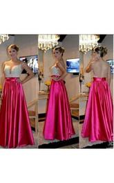 Pleated Floor-Length Sweetheart A-Line Backless Taffeta Dress