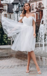 Off-the-shoulder Sweetheart Organza Sleeveless Knee-length Wedding Dress