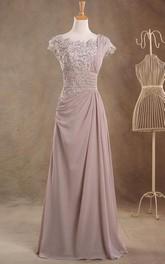 Single-Strap Jeweled Top Long Cap-Sleeve Jewel Chiffon Dress