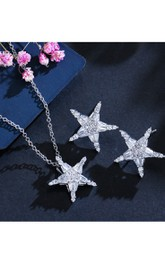Unique Star Design Rhinestone Necklace and Earrings Jewelry Set