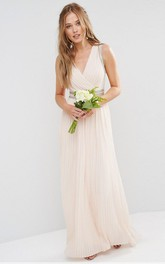 Sheath V-Neck Floor-Length Beaded Sleeveless Chiffon Bridesmaid Dress With Ruching And Bow