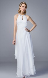 Sleeveless Beaded neckline draped Chiffon Long Dress