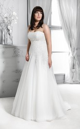 Strapless A-line Pleated plus size wedding dress With Appliqued And Sweep Train
