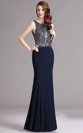 Sleeveless Low-V-Back Floor-Length Trumpet Appliqued Dress