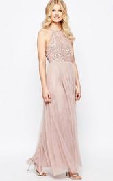 Sheath High Neck Sleeveless Floor-Length Tulle Bridesmaid Dress With Sequins