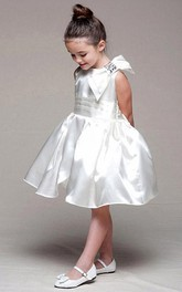 Bowknot Sleeveless Midi Satin Flower Girl Dress