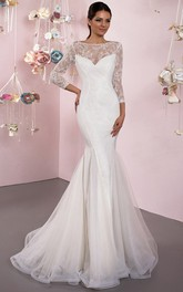 Bateau 3-4-sleeve Mermaid Tulle Wedding Dress With Lace And Low-V Back