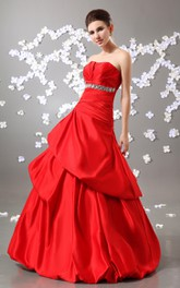Stunning Crystal A-Line Exquisite Strapless Ball Gown
