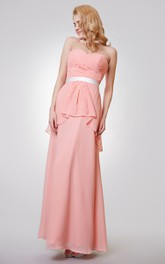 Sweetheart Backless Ruched A-line Long Chiffon Dress