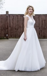 A-line Ballgown Tulle Wedding Dress With Illusion Lace V-neck And Back