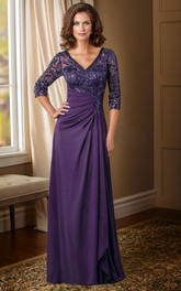 Sequined V-Back V-Neckline Long-Sleeved Mother Of The Bride