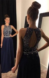 Sleeveless Long Chiffon Jewels Navy Sparkly Dress