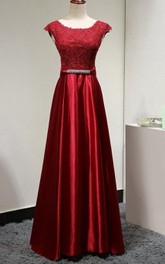 Satin Jeweled Belt Lace-Top Cap-Sleeve Dress