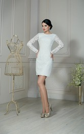 Illusion-Sleeve Short Column Lace Dress