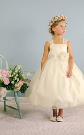 Lace Satin Ribbon Bowknot 3-4-Length Flower Girl Dress