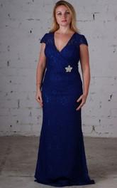 V-Neckline Lace Brush Column Short-Sleeve Gown