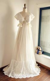 Tulle Low-V Back Short High-Waist Satin Gown