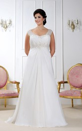 Cap-sleeve A-line Tulle Dress With Beading And central Ruching