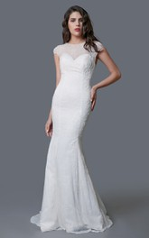 Scoop-neck Cap-sleeve Sheath Lace Wedding Dress With Court Train