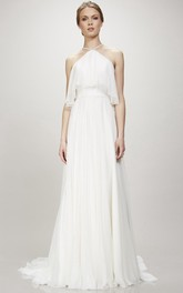High Neck Spaghetti A-line Dress With Pleats And Court Train