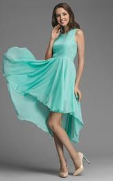 Scoop-neck Sleeveless Chiffon High-low Dress With Pleats And bow