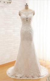 Lace Beaded Ruched Sheath Floor-Length Wedding Dress