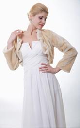 Chic Long Sleeve Faux Fur Bridal Jacket