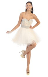 A-Line Backless Tulle Ruffled Jeweled Short Mini Strapless Sweetheart Sleeveless Dress