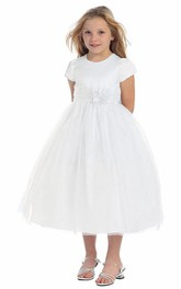 Tulle Layered Short Satin Flower Girl Dress