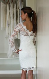 Lace V Back Long-Sleeve Illusion-Neck Dress