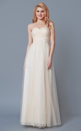 Lace Floor-Length Sweetheart High-Waist Tulle Bridesmaid Dress