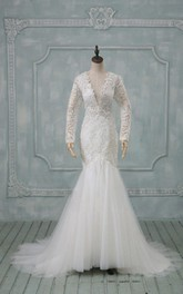 Fishtail Wedding Illusion-Sleeve V-Neckline Tulle Dress